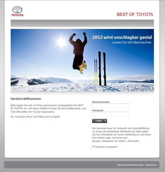 BEST OF TOYOTA Ein Incentive-Portal für die komplette Organisation